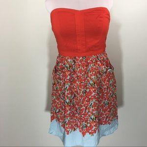 Strapless Red Floral Dress #BJ